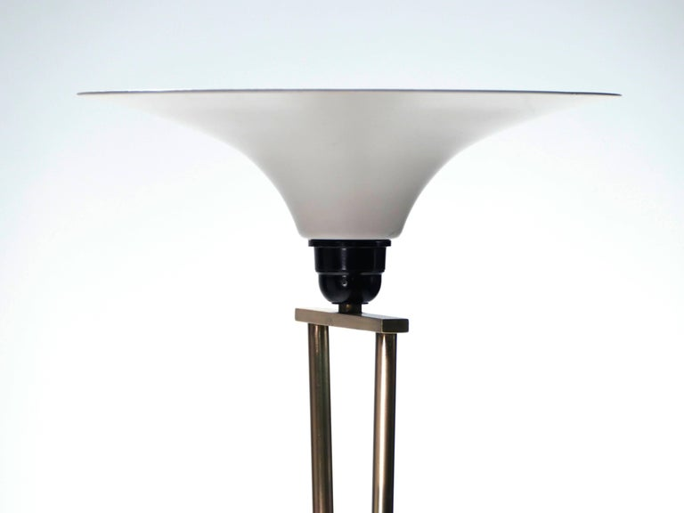 French Stilnovo Brass and Opaline Floor Lamp, 1960s For Sale