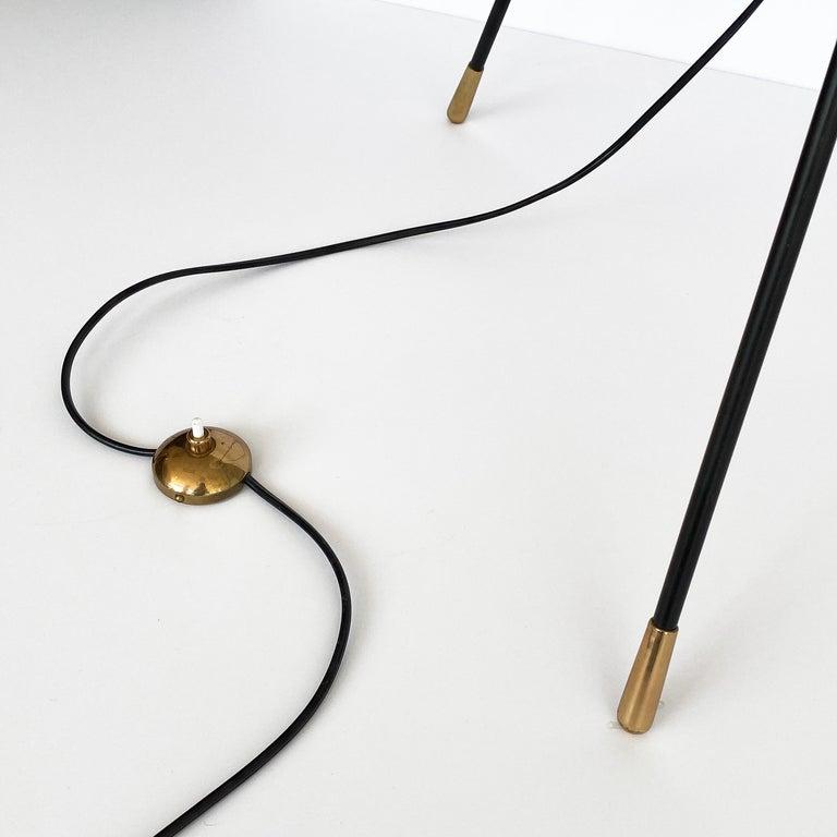 Stilnovo Brass and Opaline Glass Tripod Floor Lamp For Sale 3