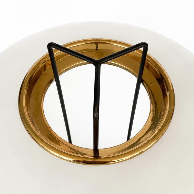 Stilnovo Brass and Opaline Glass Tripod Floor Lamp For Sale 4