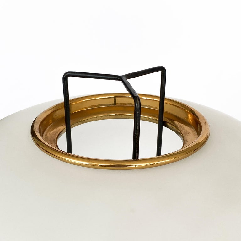 Stilnovo Brass and Opaline Glass Tripod Floor Lamp For Sale 7