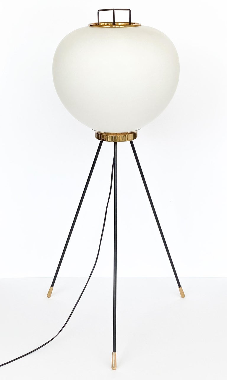 Italian Stilnovo Brass and Opaline Glass Tripod Floor Lamp For Sale