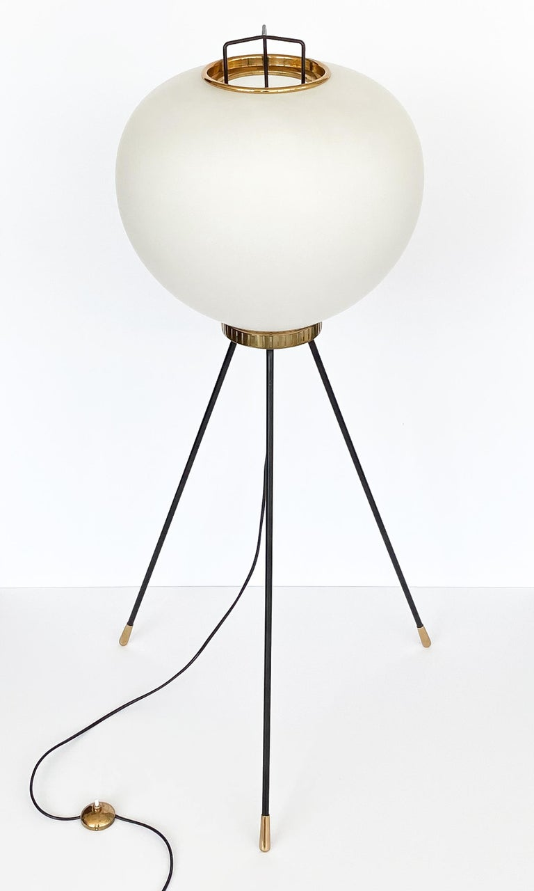Lacquered Stilnovo Brass and Opaline Glass Tripod Floor Lamp For Sale