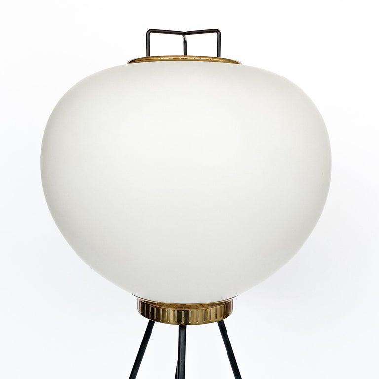 Mid-20th Century Stilnovo Brass and Opaline Glass Tripod Floor Lamp For Sale