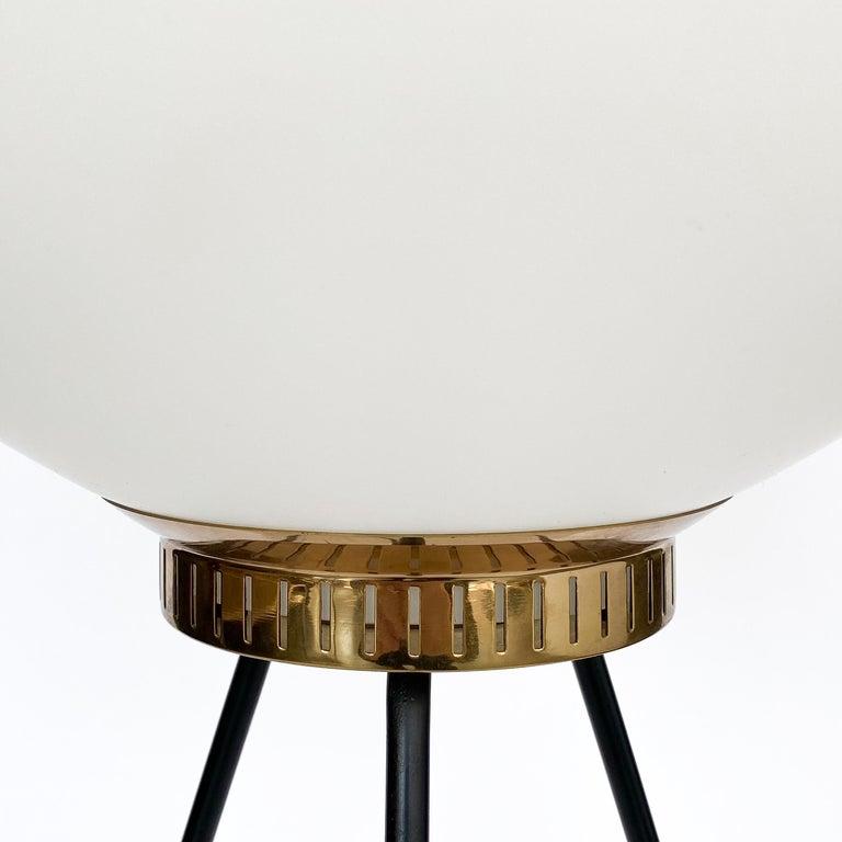 Metal Stilnovo Brass and Opaline Glass Tripod Floor Lamp For Sale