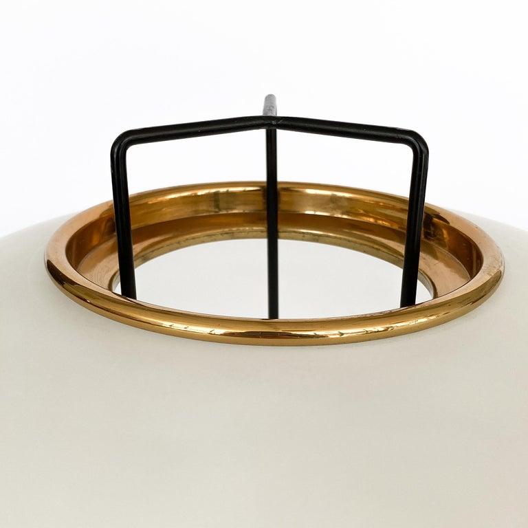 Stilnovo Brass and Opaline Glass Tripod Floor Lamp For Sale 1