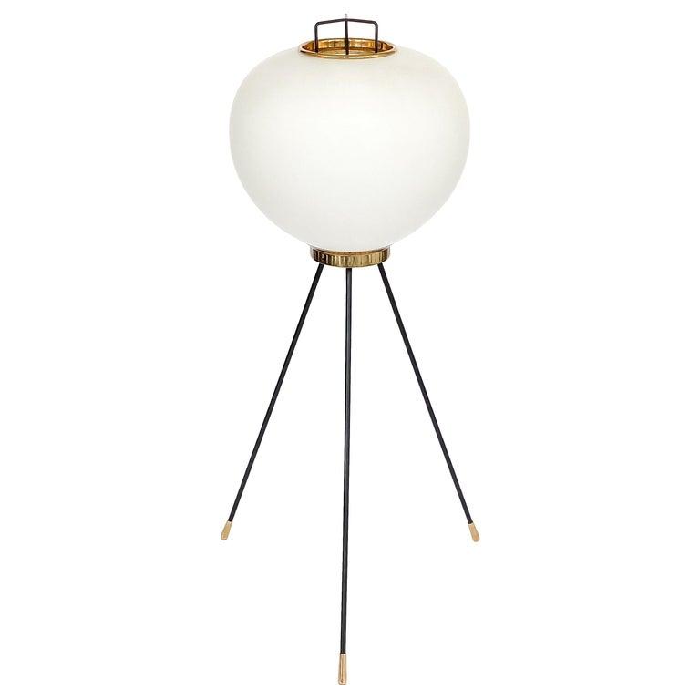 Stilnovo Brass and Opaline Glass Tripod Floor Lamp For Sale