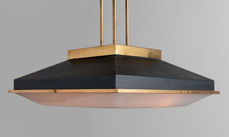 Stilnovo brass ceiling lamp, Italy, 1960.