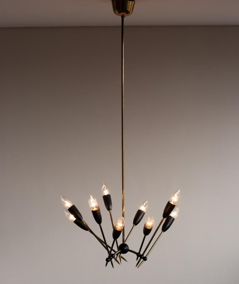 Mid-Century Modern Stilnovo Brass Chandelier For Sale