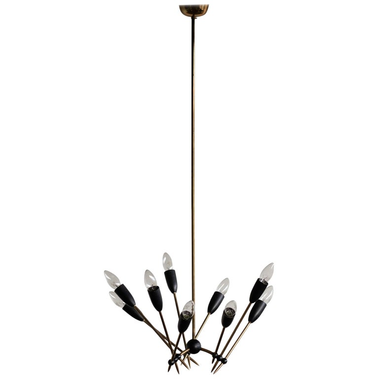 Stilnovo Brass Chandelier For Sale