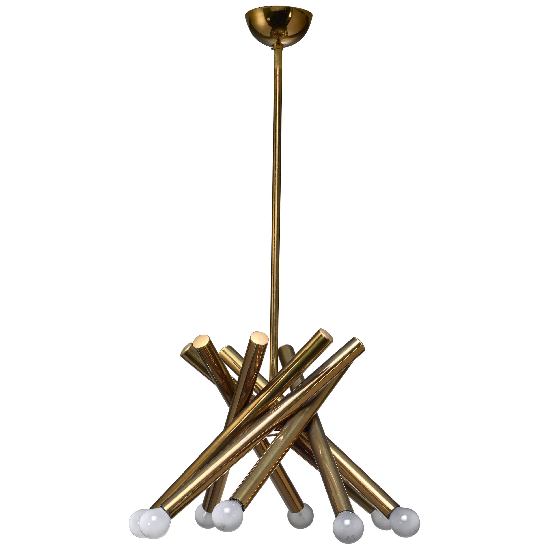Stilnovo Brass Chandelier with 8 Arms, Italy