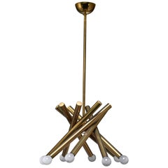 Stilnovo Brass Chandelier with 8 Arms, Italy