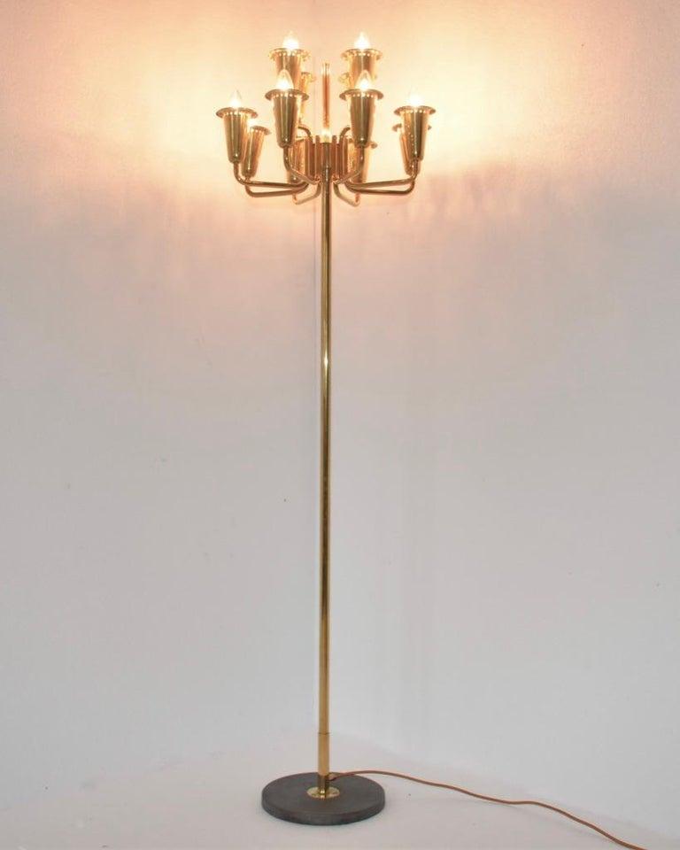 Mid-Century Modern Stilnovo Brass Floor Lamp For Sale