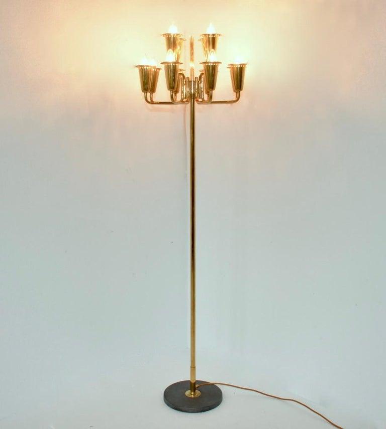 Italian Stilnovo Brass Floor Lamp For Sale