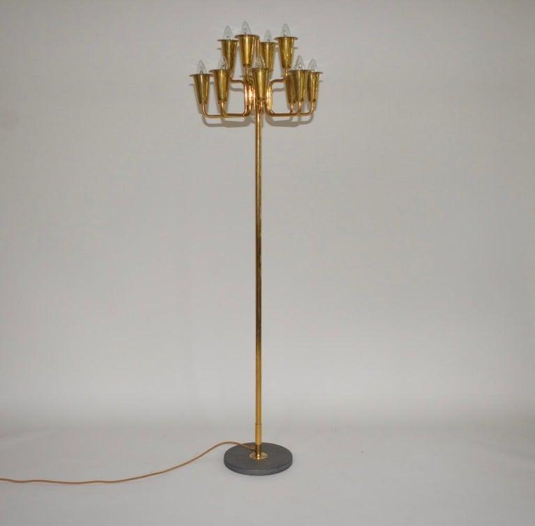 Polished Stilnovo Brass Floor Lamp For Sale