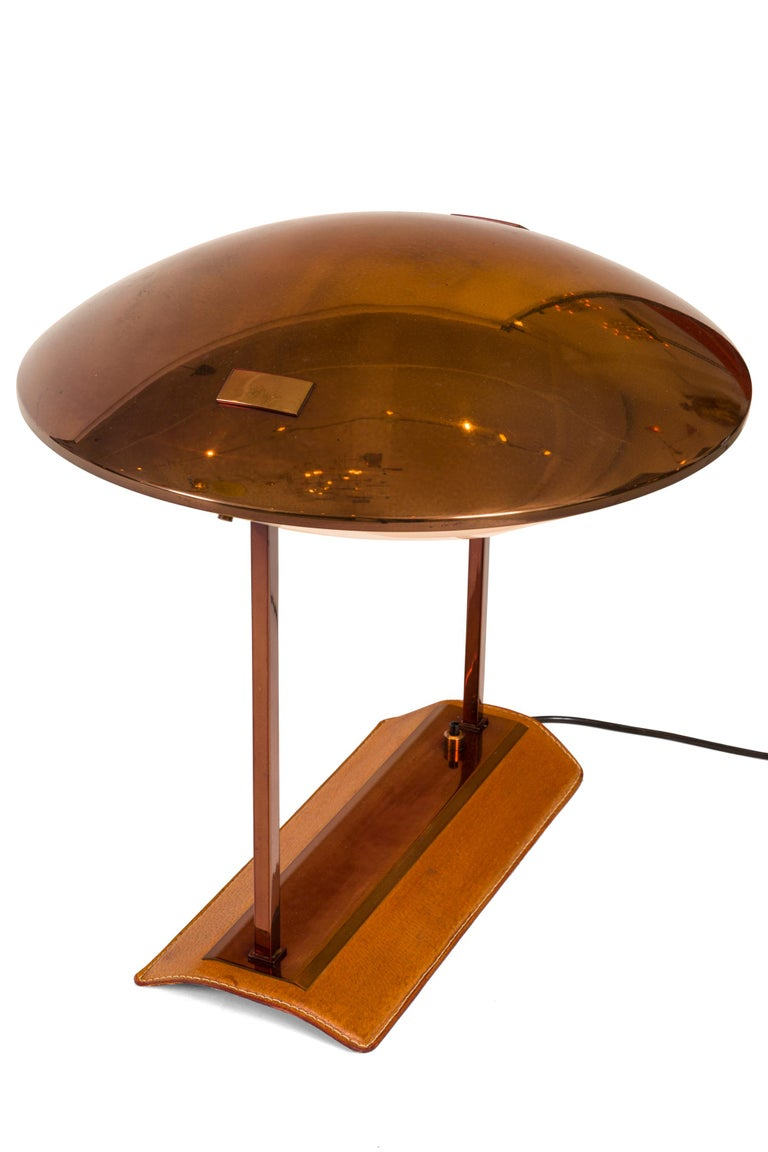 Mid-Century Modern Stilnovo Brass, Leather & Perspex Adjustable Table Lamp Model 8050, Italy, 1950s For Sale