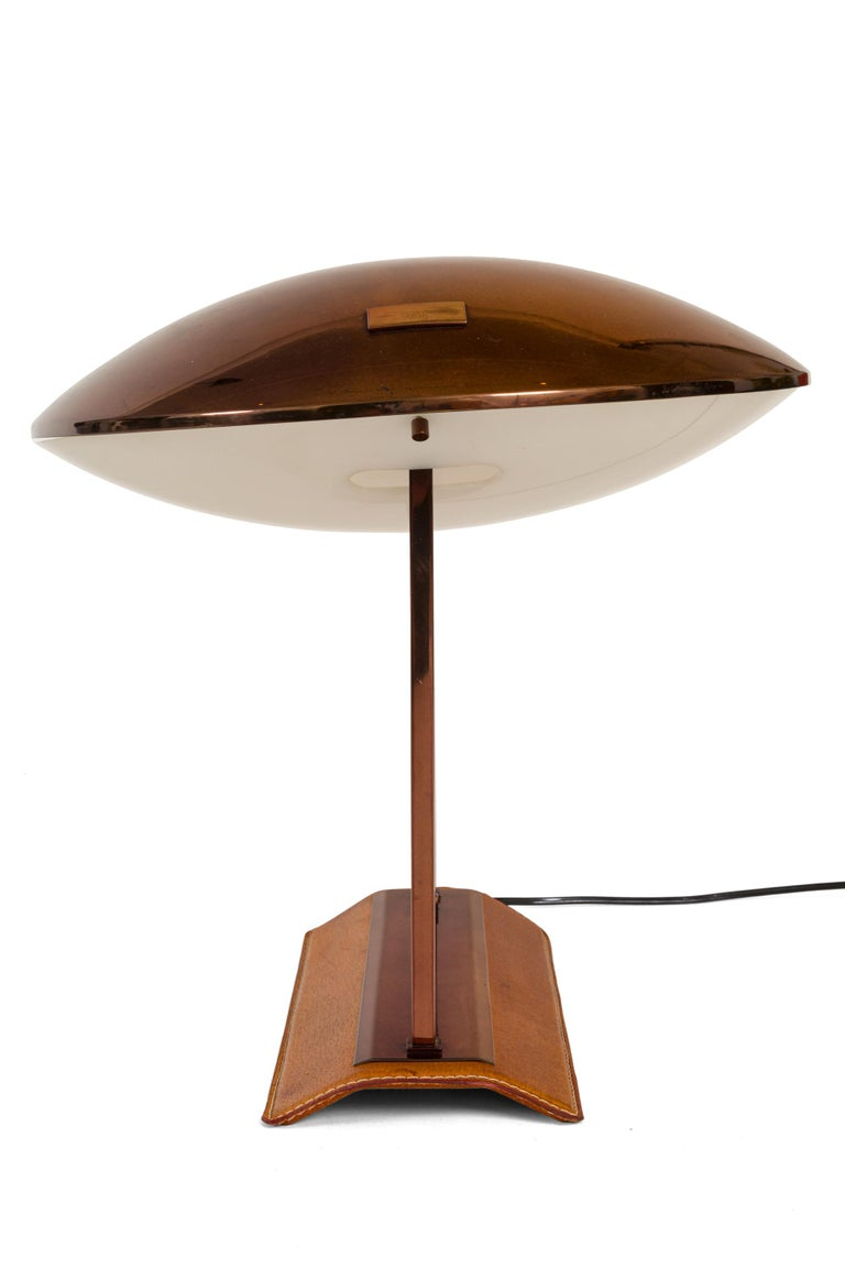 Italian Stilnovo Brass, Leather & Perspex Adjustable Table Lamp Model 8050, Italy, 1950s For Sale