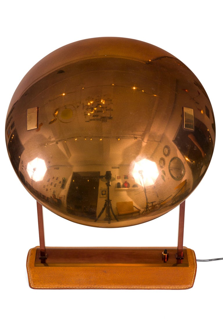Stilnovo Brass, Leather & Perspex Adjustable Table Lamp Model 8050, Italy, 1950s In Good Condition For Sale In New York, NY