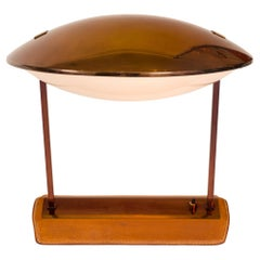 Stilnovo Brass, Leather & Perspex Adjustable Table Lamp Model 8050, Italy, 1950s