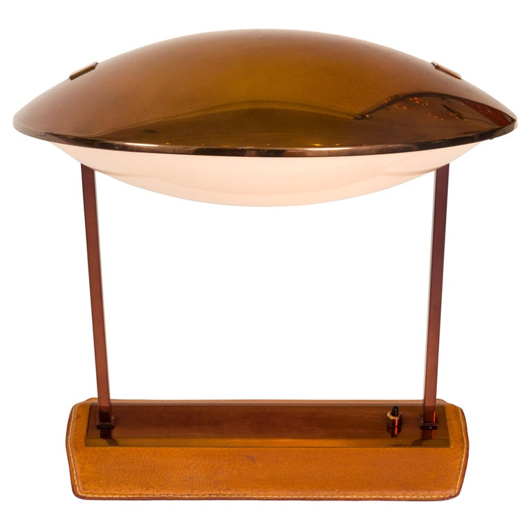 Stilnovo Brass, Leather & Perspex Adjustable Table Lamp Model 8050, Italy, 1950s For Sale