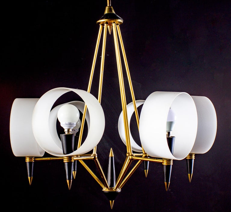 Brass Midcentury Murano Glass Chandelier Stilnovo Style, 1950s For Sale 8