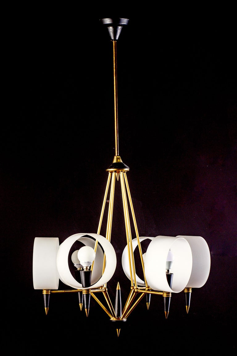 Mid-Century Modern Brass Midcentury Murano Glass Chandelier Stilnovo Style, 1950s For Sale