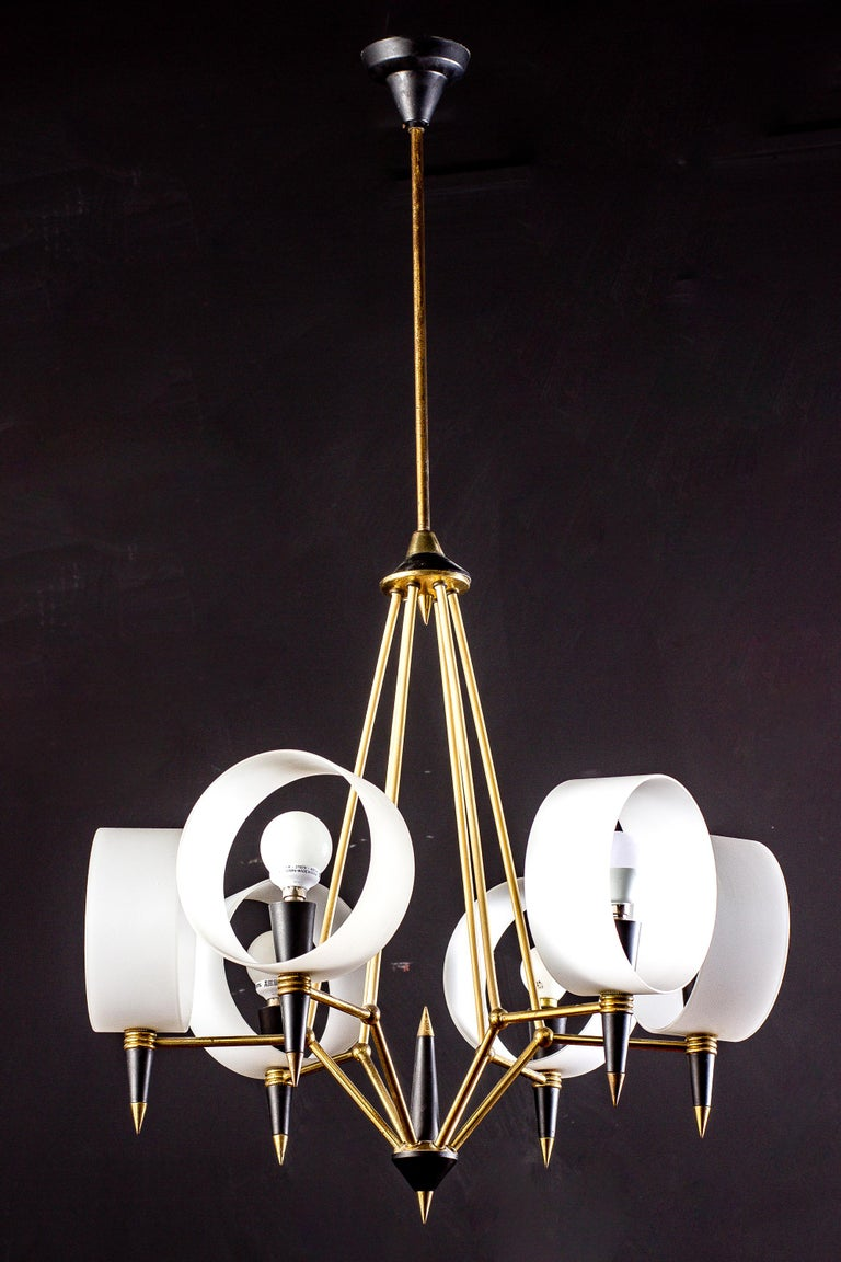 Italian Brass Midcentury Murano Glass Chandelier Stilnovo Style, 1950s For Sale