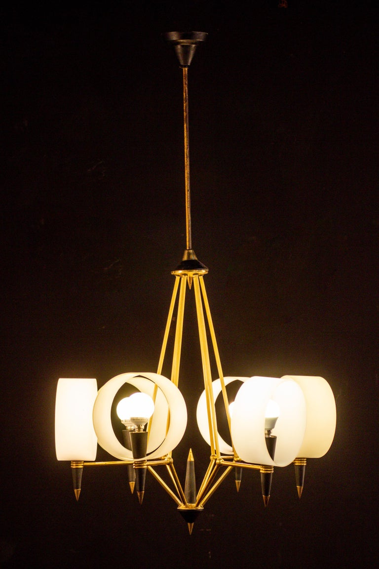 Brass Midcentury Murano Glass Chandelier Stilnovo Style, 1950s For Sale 1