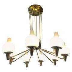 Stilnovo Brass Opaline Glass Chandelier Eight Arms Excellent Patina Italy 1950s
