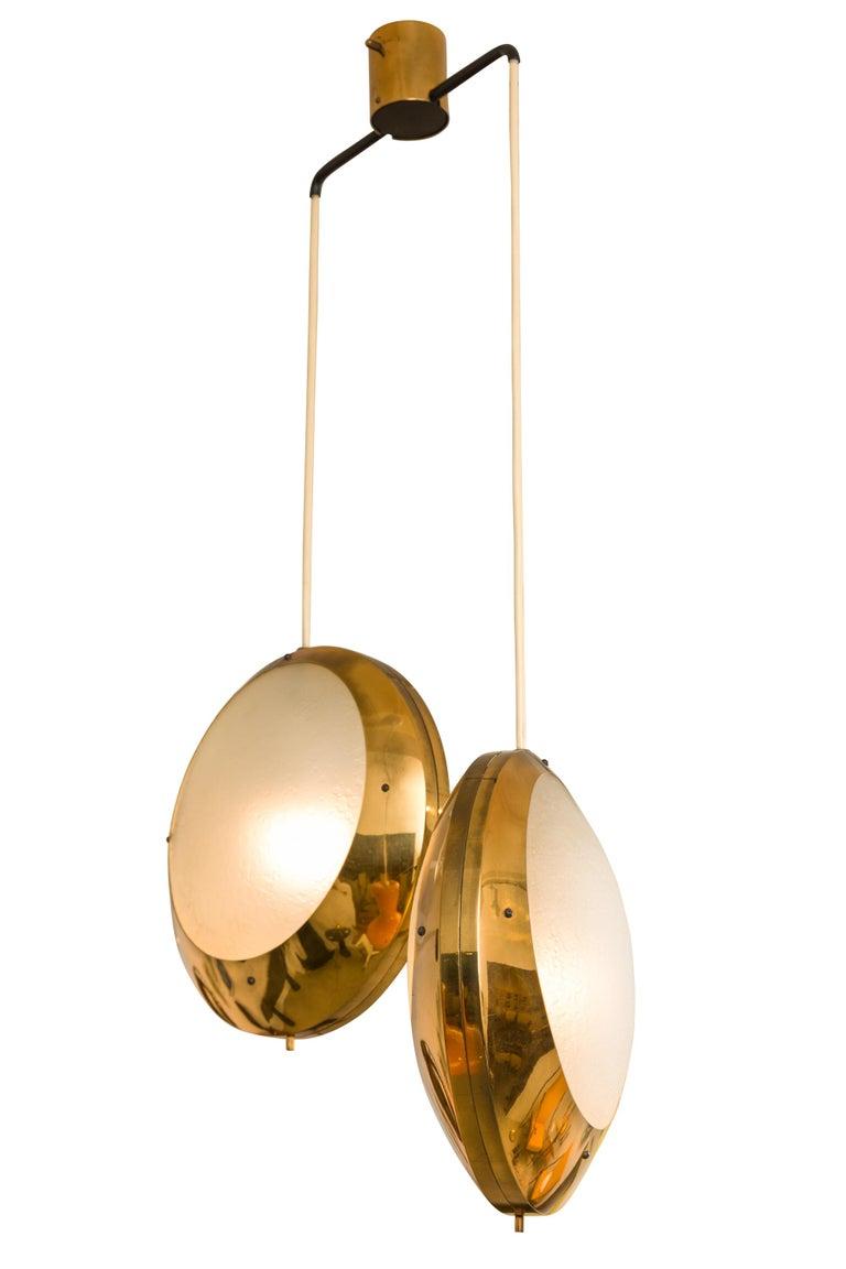 Mid-Century Modern Stilnovo Brass & Textured Glass Double Pendant Light, Italy, 1950s For Sale