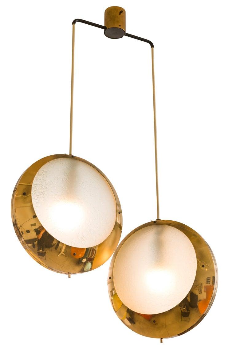 Italian Stilnovo Brass & Textured Glass Double Pendant Light, Italy, 1950s For Sale