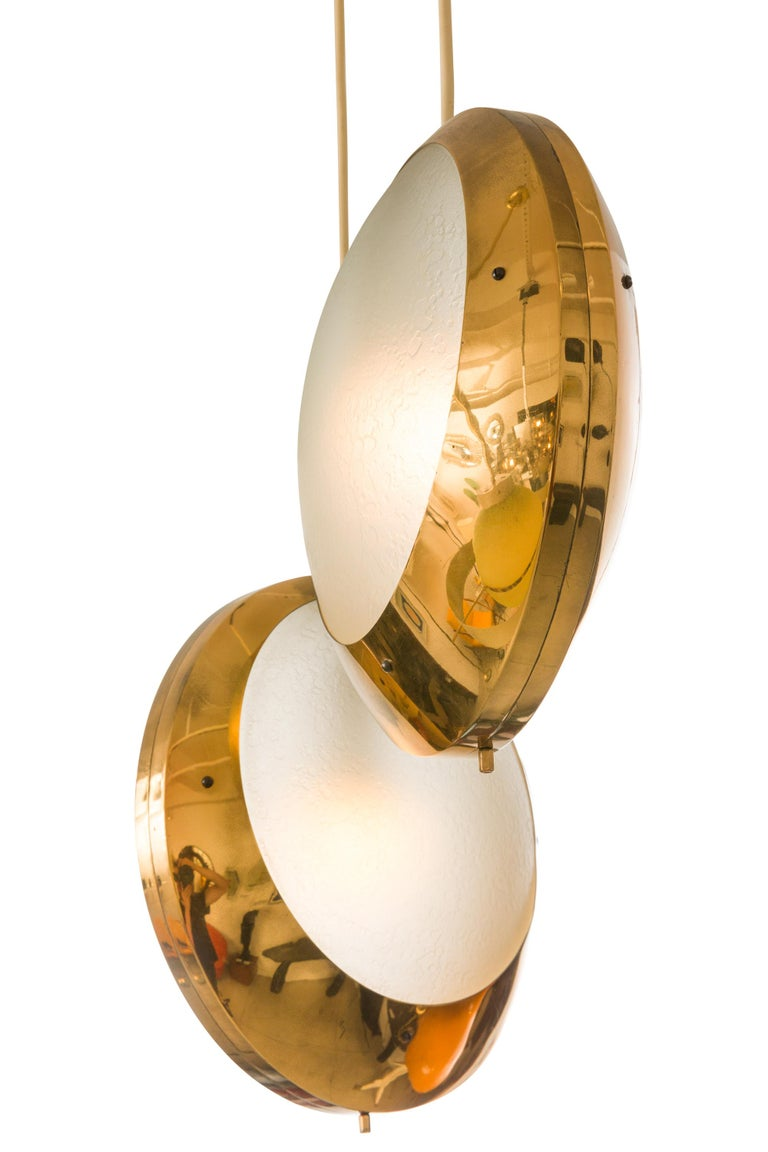 Stilnovo Brass & Textured Glass Double Pendant Light, Italy, 1950s In Good Condition For Sale In New York, NY