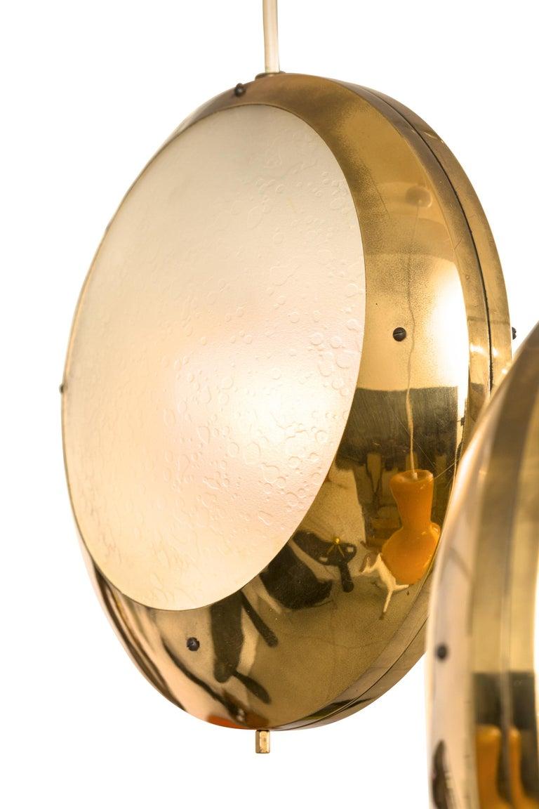 Mid-20th Century Stilnovo Brass & Textured Glass Double Pendant Light, Italy, 1950s For Sale