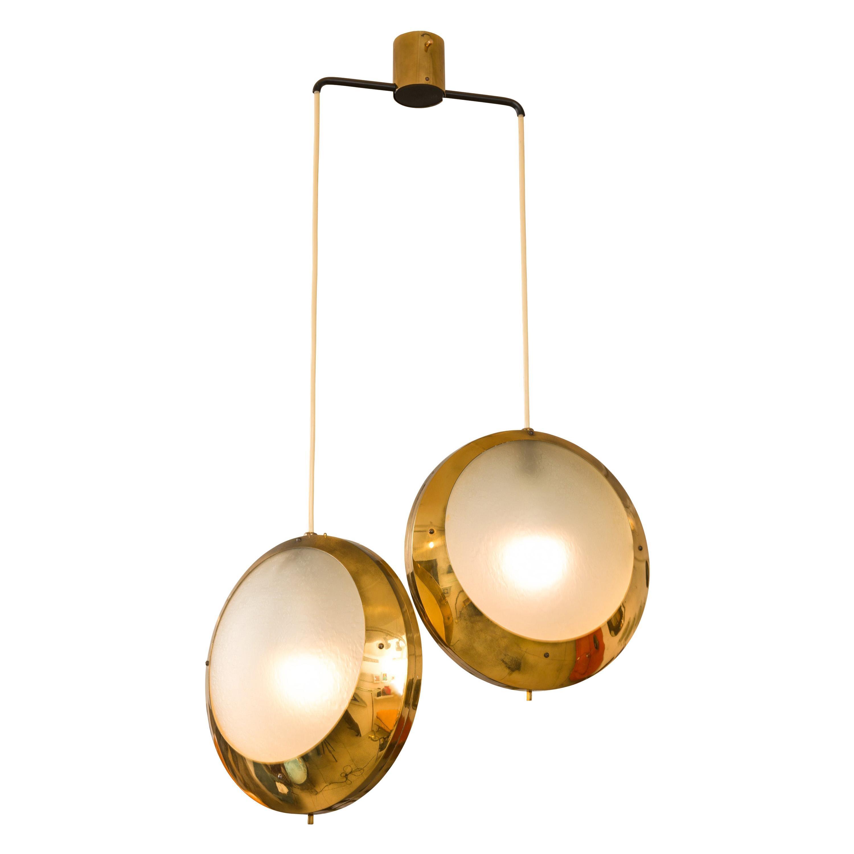 Stilnovo Brass & Textured Glass Double Pendant Light, Italy, 1950s