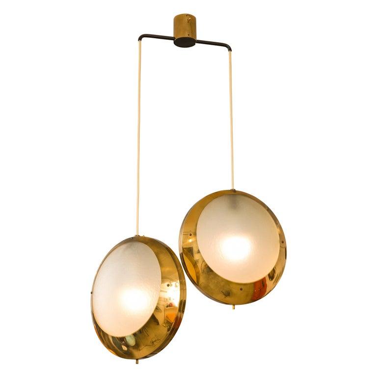 Stilnovo Brass & Textured Glass Double Pendant Light, Italy, 1950s For Sale