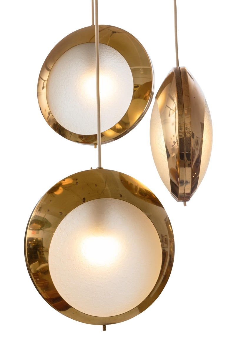 Stilnovo Brass & Textured Glass Three Pendant Light, Italy, 1950s In Good Condition For Sale In New York, NY