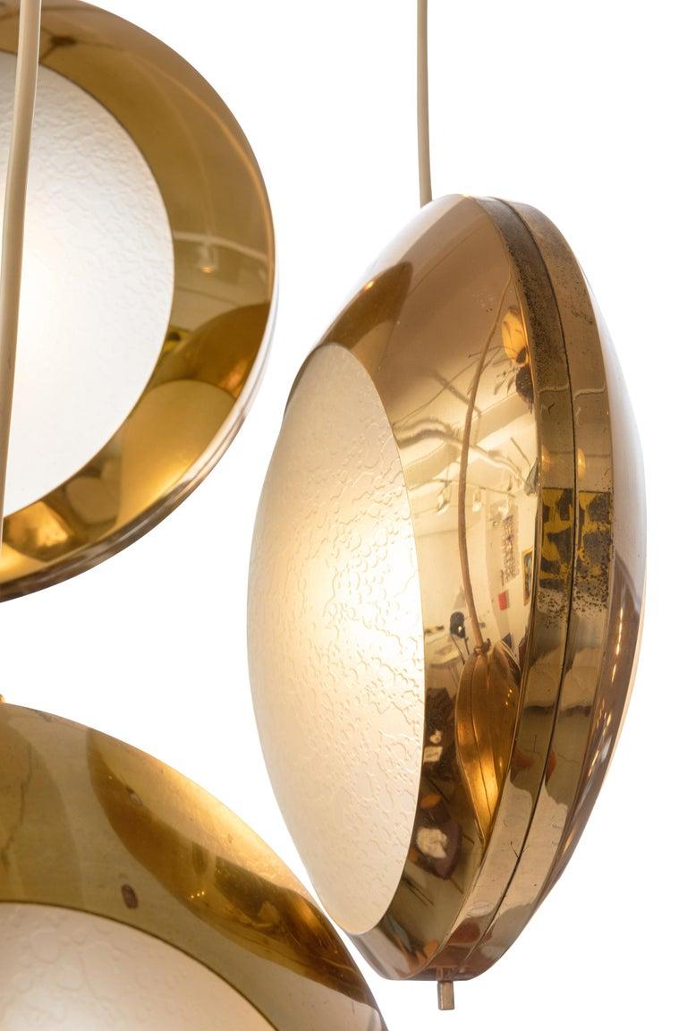 Mid-20th Century Stilnovo Brass & Textured Glass Three Pendant Light, Italy, 1950s For Sale
