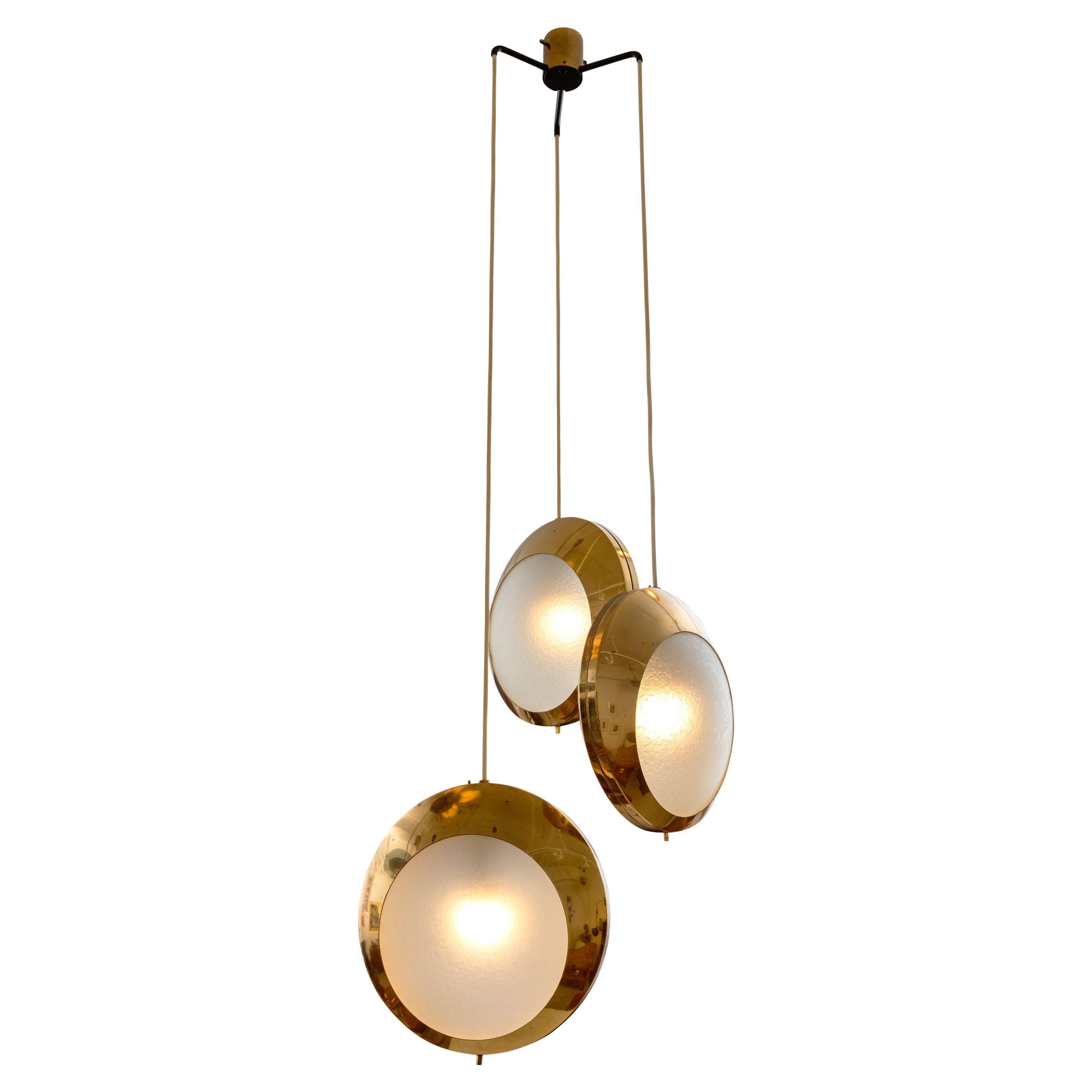 Stilnovo Brass & Textured Glass Three Pendant Light, Italy, 1950s