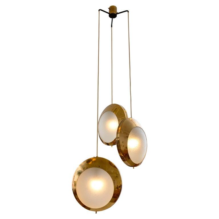 Stilnovo Brass & Textured Glass Three Pendant Light, Italy, 1950s For Sale