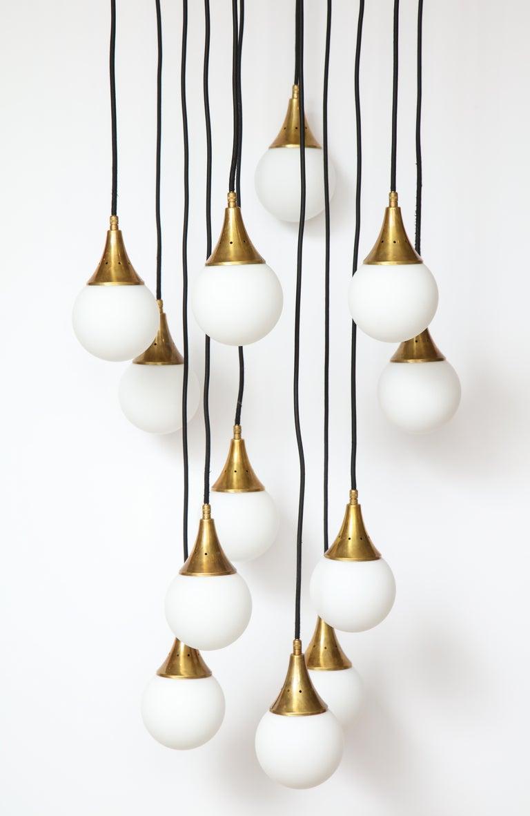 Stilnovo Cascading Chandelier with Twelve Opaline Glass Lights For Sale 3