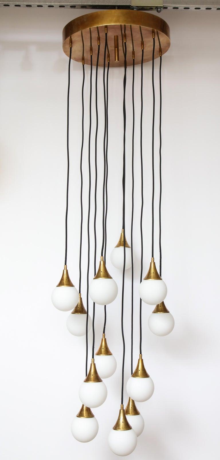 Stilnovo Cascading Chandelier with Twelve Opaline Glass Lights For Sale 4