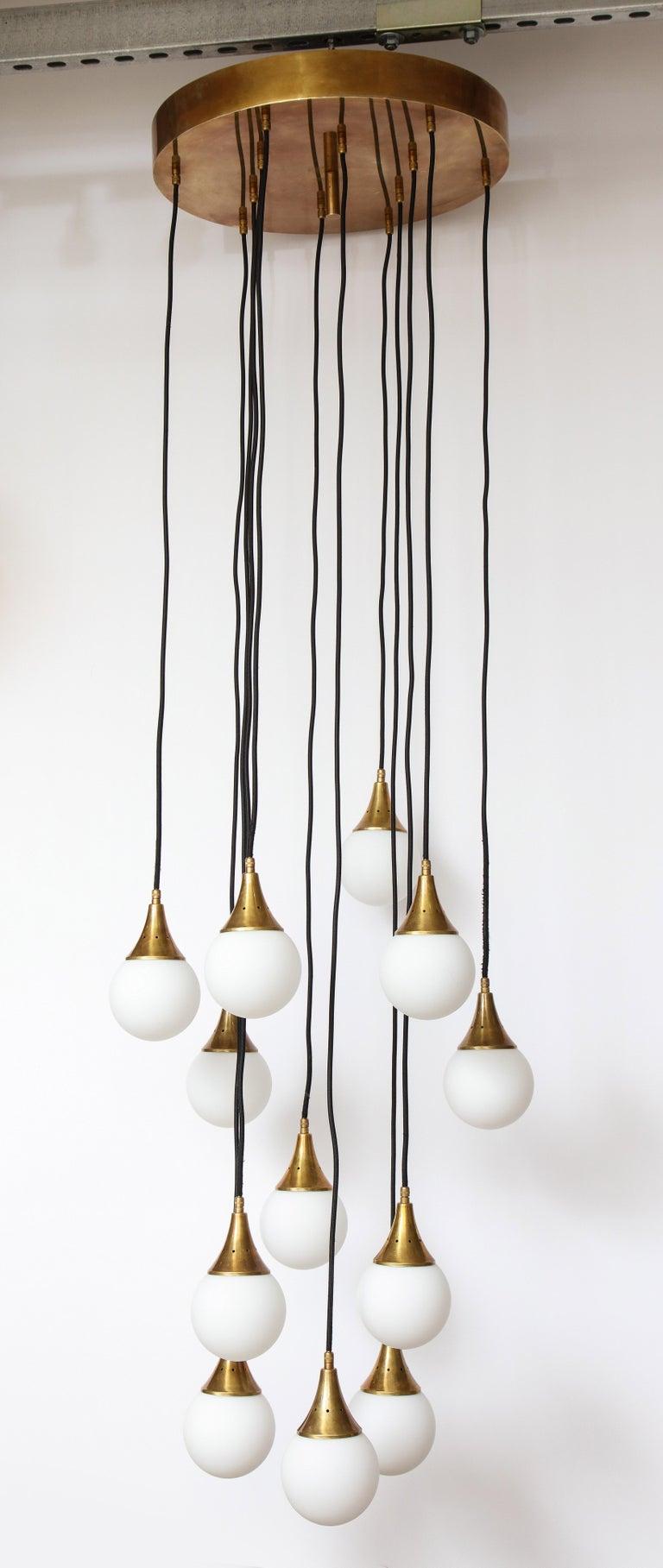 Stilnovo Cascading Chandelier with Twelve Opaline Glass Lights For Sale 5