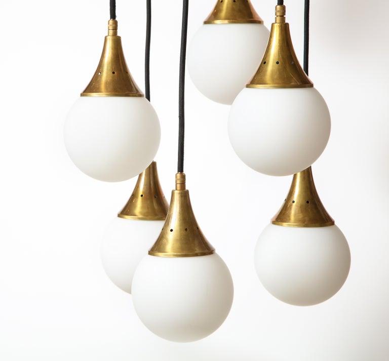 Stilnovo Cascading Chandelier with Twelve Opaline Glass Lights For Sale 6