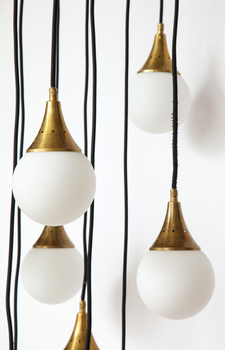 Italian Stilnovo Cascading Chandelier with Twelve Opaline Glass Lights For Sale