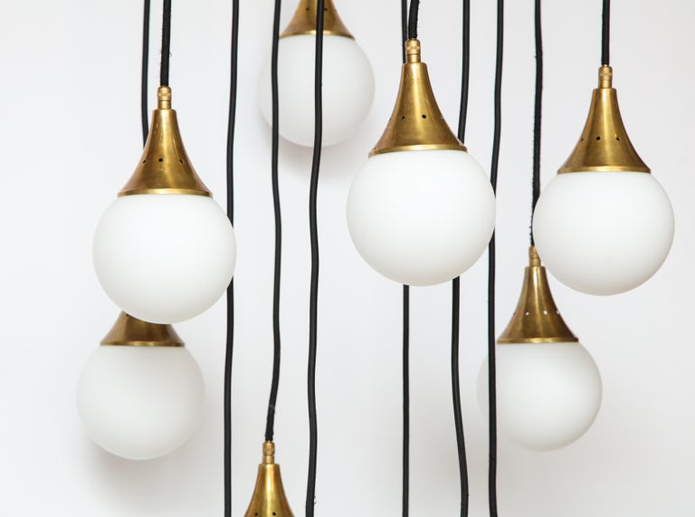 Mid-20th Century Stilnovo Cascading Chandelier with Twelve Opaline Glass Lights For Sale