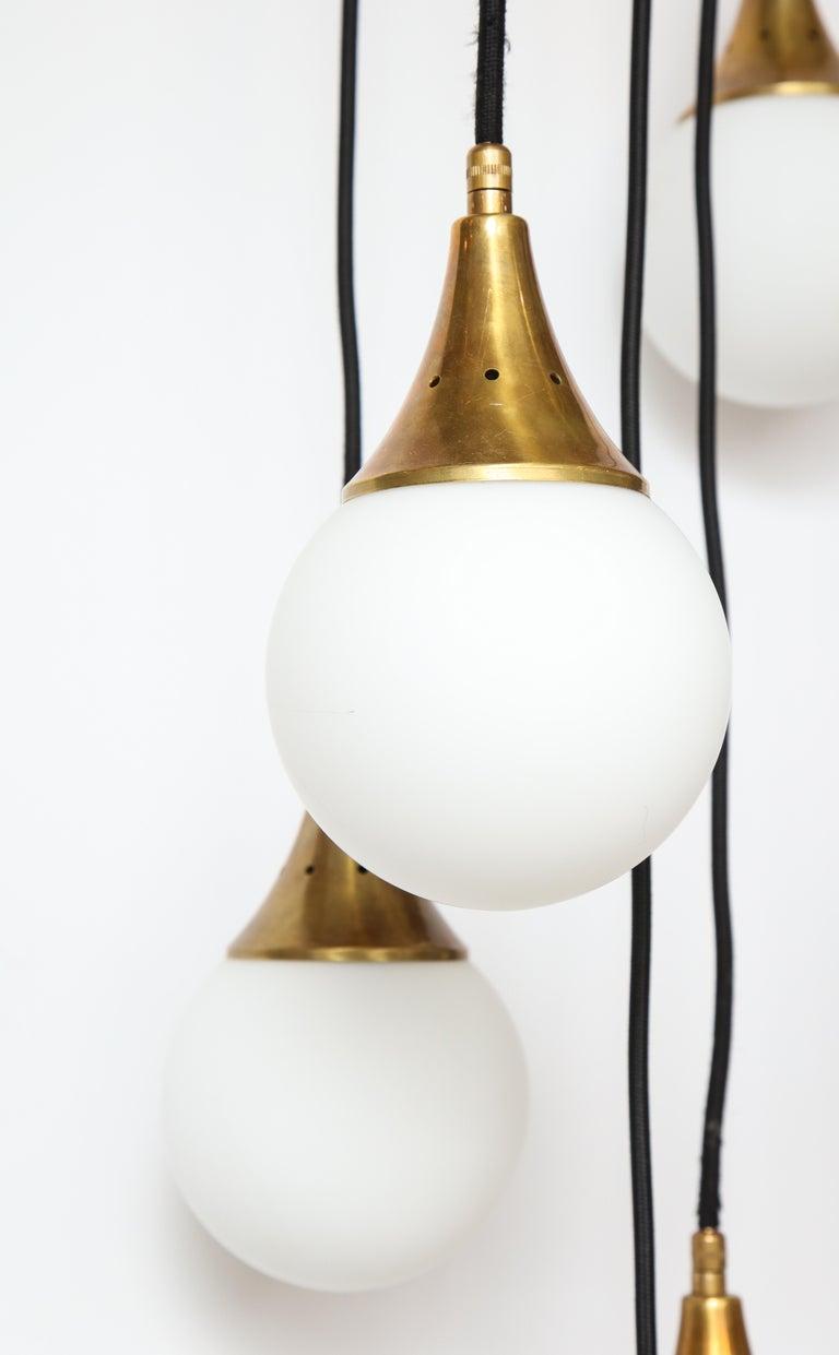 Stilnovo Cascading Chandelier with Twelve Opaline Glass Lights For Sale 1