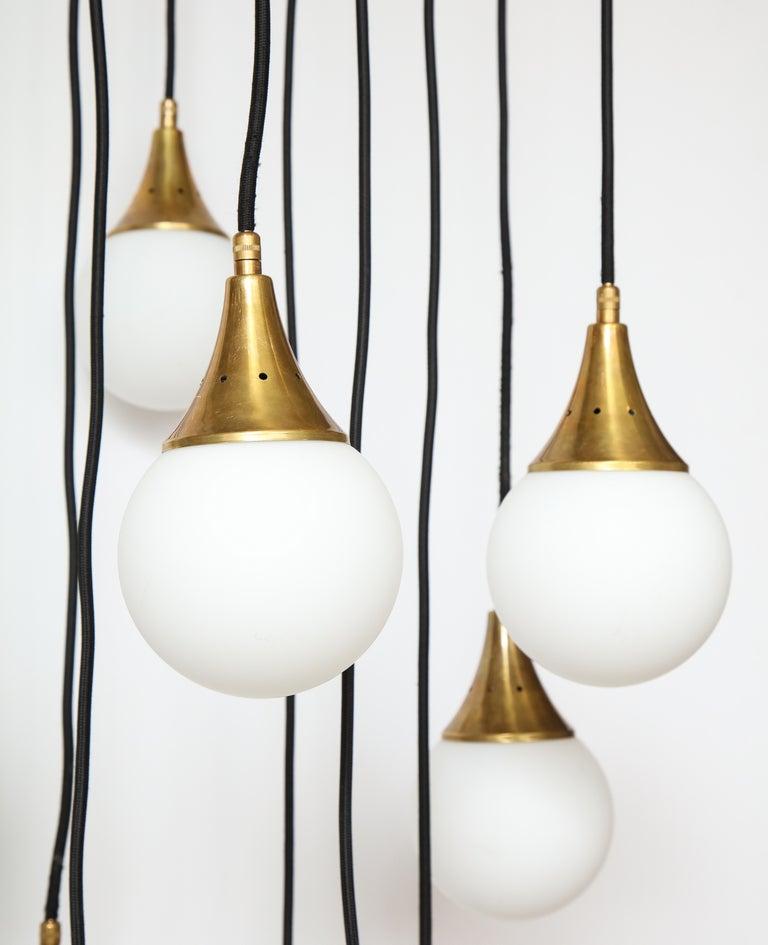 Stilnovo Cascading Chandelier with Twelve Opaline Glass Lights For Sale 2