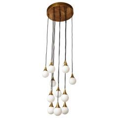 Stilnovo Cascading Chandelier with Twelve Opaline Glass Lights