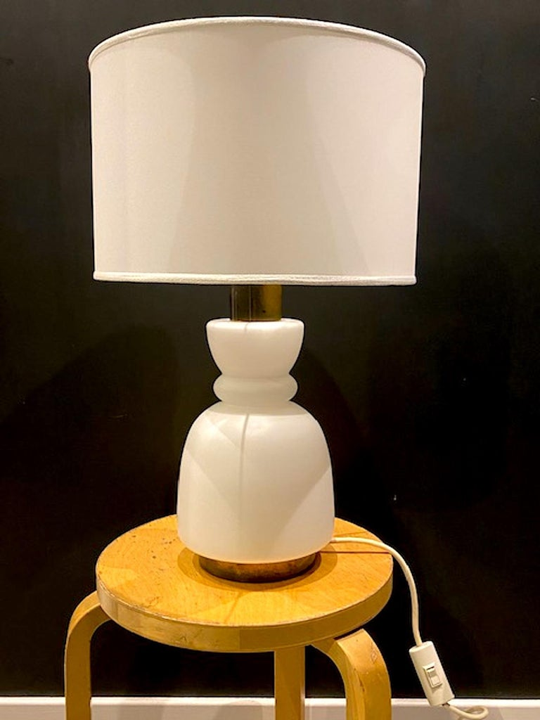 Mid-Century Modern Stilnovo Cased Glass and Brass Table Lamp For Sale
