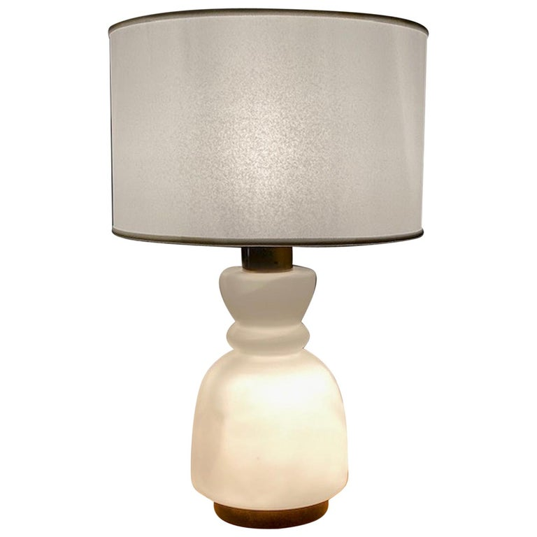 Stilnovo Cased Glass and Brass Table Lamp For Sale