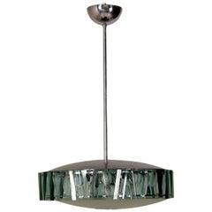 Stilnovo Ceiling Lamp Glass Aluminium Vintage, Italy, 1960s